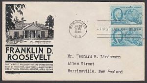 USA 1946 FDC to New Zealand - 5c Roosevelt.................................57725