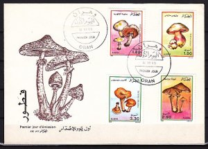 Algeria, Scott cat. 908-911. Mushrooms issue. First day cover. ^