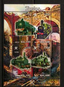 Malawi 2012 M/S Steam Locomotives Trains Rail Transport Railway Stamps MNH (4)
