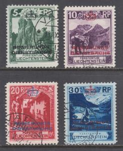 Liechtenstein Sc O1-O4 used. 1932 Officials, first 4 values to set, fresh
