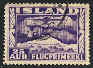 01840 Iceland Scott #C17a used, 25 Aur airmail plane, perf 12.5 x 14, SCV = $45