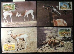 senegal 1986 WWF dama gazelle 4 values maxicard animals mammals