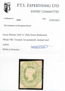 Great Britain #5 (SG #54) Mint Fine Unused But Nicely Regummed **With Cert.**