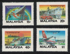 Malaysia Train Car Ships Transport and Communication Decade 4v SG#379-382