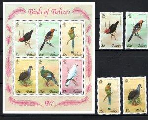 Belize SC387-392a w/SS Beautiful Birds MNH 1977