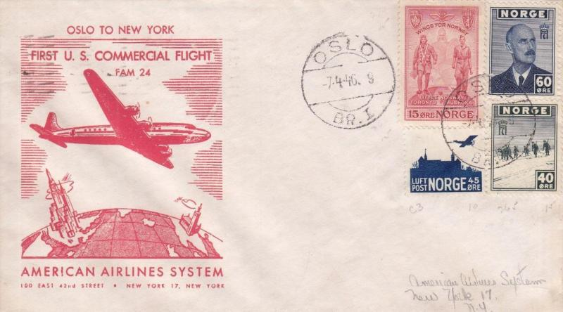 1946, 1st Flt, American Airlines, Oslo, Norway to New York, See Remark (22907)