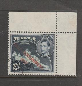 Malta 1949 Self Govt. 2/- VFU corner copy SG 245