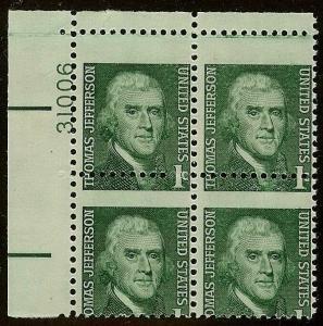 1278 - Misperf Error / EFO Plate# Block Thomas Jefferson Mint NH