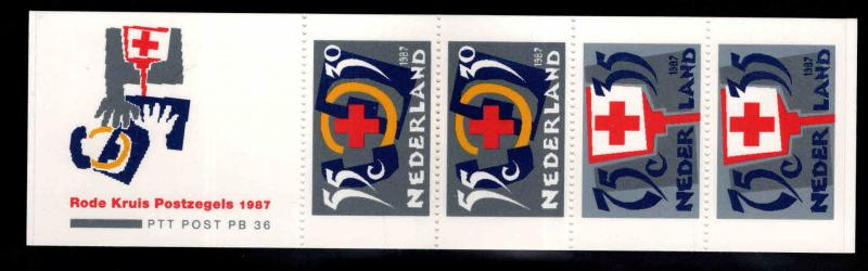 Netherlands Scott B631a MNH**  1987 Red Cross Booklet
