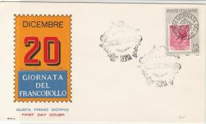 Italy 1959 Stamp Day 20th December Shaped Roma Slogan FDC Stamps Cover ref 22405