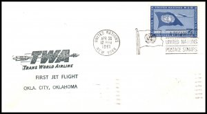 UN New York to Oklahoma City,OK TWA 1961 First Jet Flight Cover