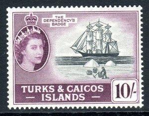 Turks & Caicos  1957-62 ..    sg 250  ..10/-  -  MM   cv £27