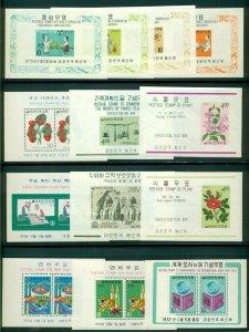 KOREA #297a//1051a, Souvenir sheets, 95 total (87 diff), og, NH, Scott $667.05