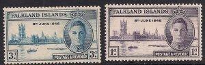 Falkland Islands 1946 KGV1 Victory set MM SG 165 & 164 ( D1289 )
