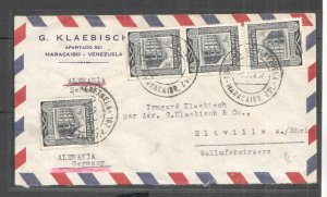A0538 VENEZUELA TO GERMANY WATERLOW PRINTED VALUES ARCHITECTURE !!! FDC