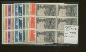 United States Postage Stamps #756-765 MNH VF National Parks Imperf Line Blocks