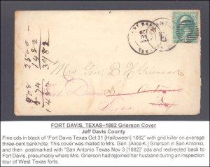 Jeff Davis County Fort Davis Forwarded ( Postal History ), 1882