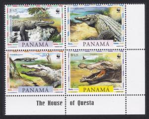 Panama WWF American Crocodile 4v Bottom Right Corner Block of 4 SG#1590-1593