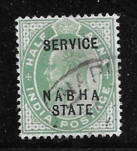 India Nabha O17: 1/2a Edward VII Overprint, used, F