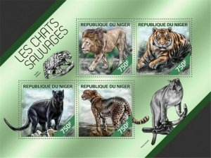 Niger - 2014 Wildcats on Stamps - 4 Stamp Sheet - 14A-426