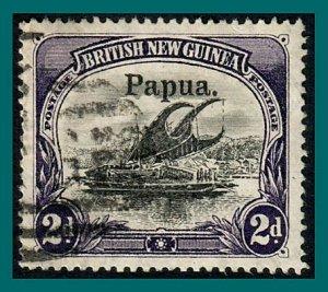 Papua 1906 Lakatoi, large opt, vert wmk, 2d used  #13,SG23