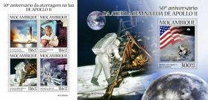Z08 IMPERF MOZ190420ab MOZAMBIQUE 2019 Apollo 11 MNH ** Postfrisch