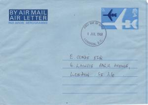 GB 1968 VC10 9D Air Letter First Day of Issue VGC