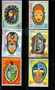 EQUATORIAL GUINEA 1977  AFRICAN MASKS SET OF 6  MINT  VF NH  O.G  CTO  (EQ9)