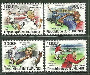 Burundi MNH 981-4 Soccer Players 2011 SCV 12.00