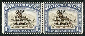 KUT SG154a 1941 70c on 1/- with CRESCENT MOON FLAW M/M