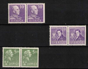 Sweden - 3 mint pairs SG211, 230 and 244ba - CV £260 (approx $335)