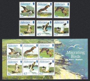 Alderney Migrating Birds 1st series Raptors 6v+MS SG#A185-MSA191