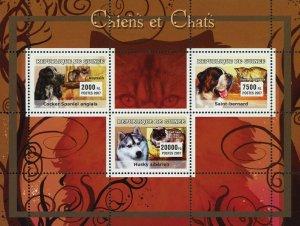 Dog and Cat Stamp English Cocker Spaniel Husky Siberian Saint Bernard S/S MNH