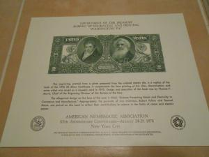 American Numismatic Association Two Silver Dollar Certificate. #02 AMA2
