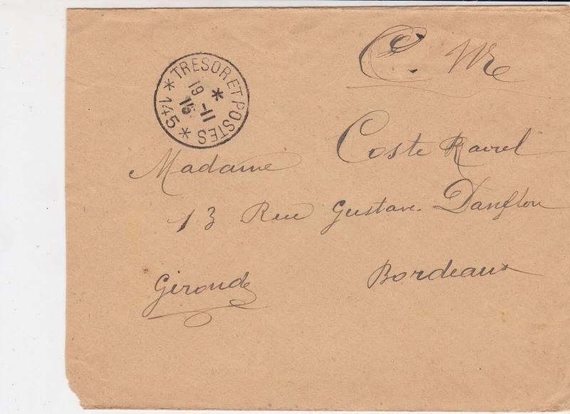 France WW1 French Military 1915 Tresor Et Postes No 145 Cover Ref 30976