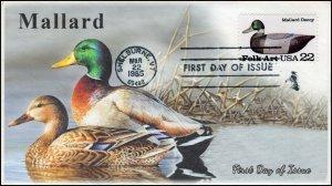 AO-2139, 1985, Duck Decoys, Mallard, Add-on Cachet, First Day Cover, SC 2139
