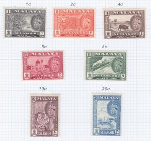 SELANGOR, MALAYSIA, 1961 set of 7, lhm.