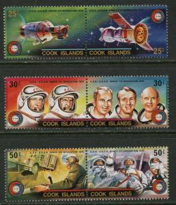 COOK ISLANDS Sc#427-429, 429c 1975 Apollo-Soyuz Complete Set & SS OG Mint NH