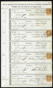 1867 Bank ledger page with R6c revenue stamps handstamp cancels L6