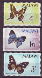 J17767 JLstamps 1965 malawi part of set mh #37, 39-40 butterflies