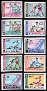 Ajman Mi #31B-40B set/10 mnh - 1965 - 1964 Summer Olympics Tokyo - imperf