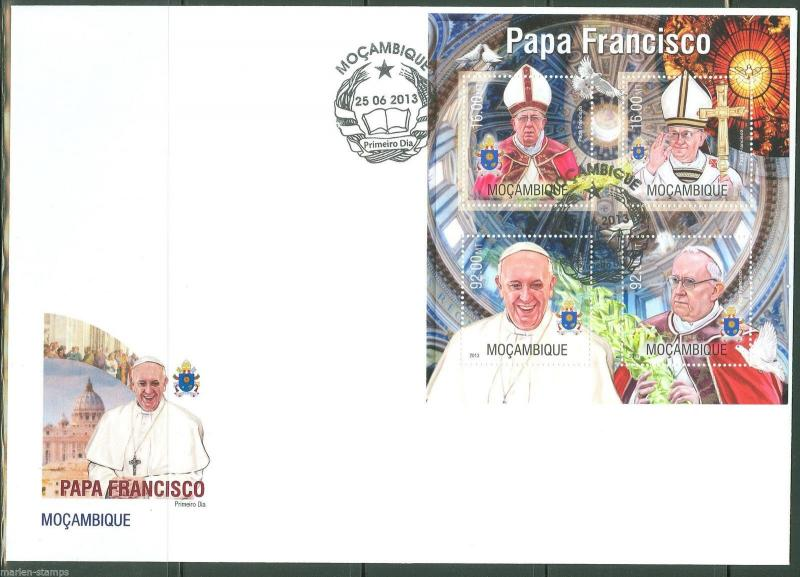 MOZAMBIQUE  2013 POPE FRANCIS SHEET FIRST DAY COVER