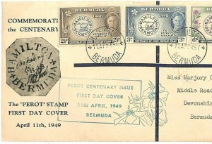 BERMUDA ILLUSTRATED FDC *Perot Stamp* Devonshire First Day Cover 1948 GU127