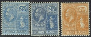 BRITISH VIRGIN ISLANDS 1922 KGV BADGE 21/2D ALL 3 COLOURS