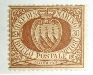 SAN MARINO 1892 30c ARMS MLH  Scott #15 Great Color! Free US Shipping CV $925