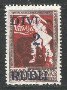 Latvia 1920-21,Surcharged 2 Rubles on 10k,Scott # 92,VF-XF MNH**OG