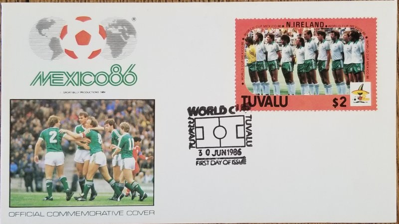 J) 1986 TUVALU, OFFICIAL COMMEMORATIVE COVER, SOCCER WORLD CHAMPIONSHIP OF MEXIC