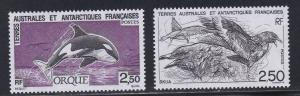 French Southern Antarctic Terr. # 186-187, Killer Whale & Skua, NH, 1/2 Cat.