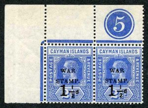Cayman Is SG53 1.5d on 2.5d Type 14 Plate Pair Stamps U/M (left stamp creased)