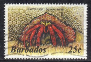 BARBADOS  SC# 646  USED  25c 1985  SEE SCAN